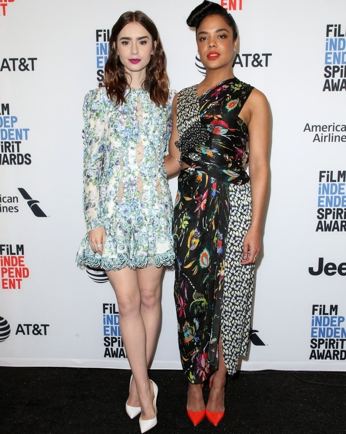 Tessa Thompson and Lily Collins at the 33rd Film Independent Spirit Awards nominations press conference