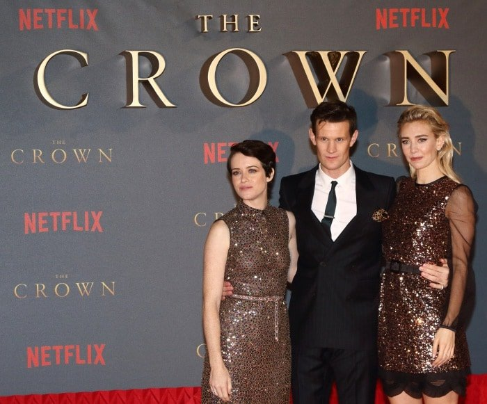 "Claire Foy, Matt Smith, and Vanessa Kirby at Netflix's ""The Crown"" Season 2 world premiere"