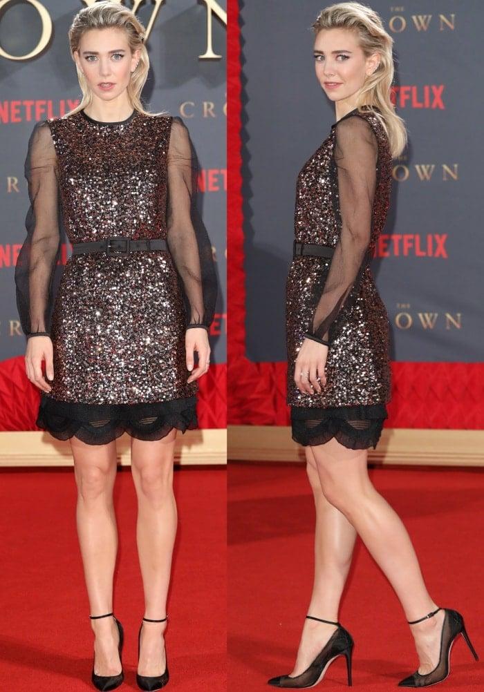 "Vanessa Kirby wearing a Prada Resort 2018 dress and Jimmy Choo mesh pumps at Netflix's ""The Crown"" Season 2 world premiere"