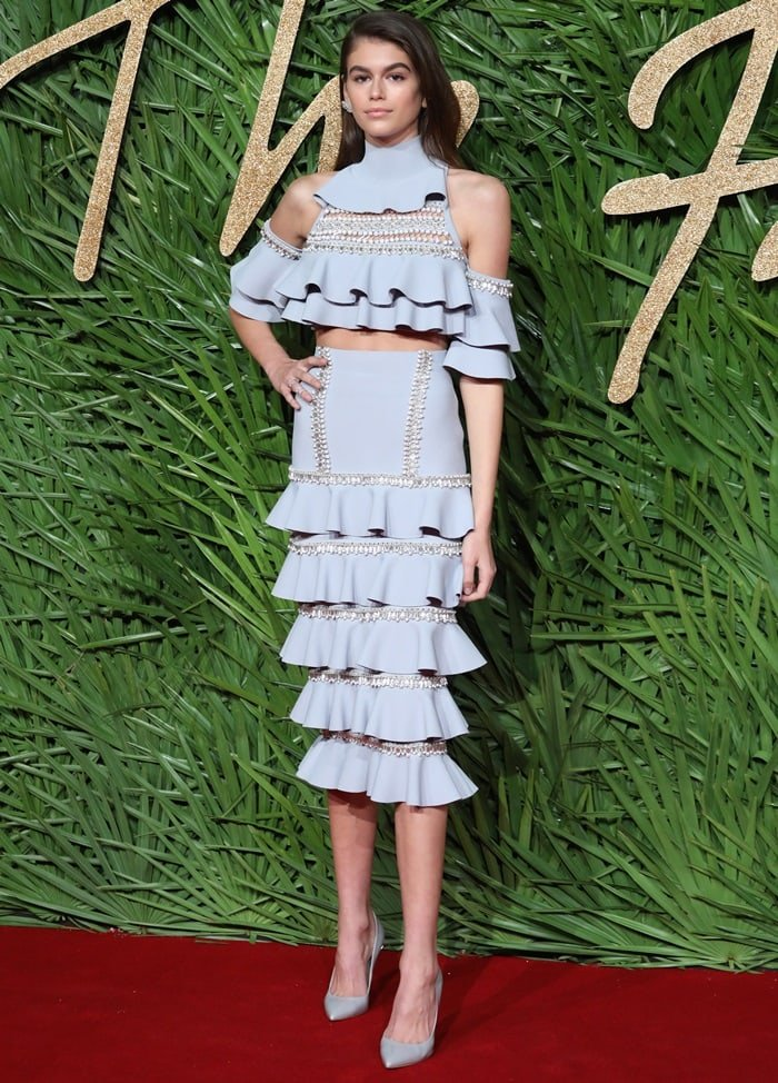 Kaia Gerber hit the red carpet in Ralph & Russo at the 2017 Fashion Awards at Royal Albert Hall in London, England, on December 4, 2017