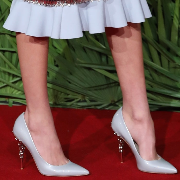 Kaia Gerber showing off her feet in pointy-toe Ralph & Russo pumps