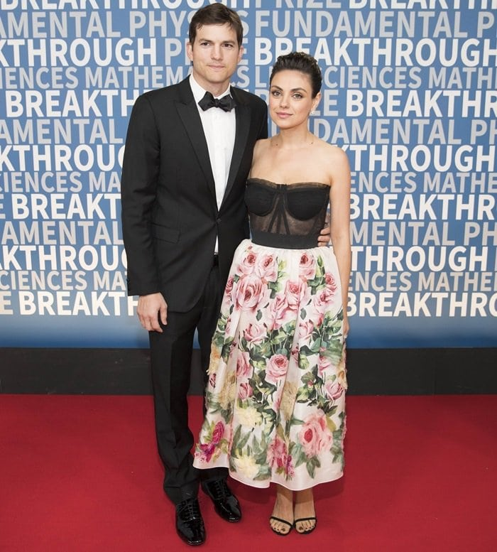 Ashton Kutcher and Mila Kunis on the red carpet at the 2018 Breakthrough Prize Ceremony at NASA Ames Research Center in Mountain View, California, on December 3, 2017