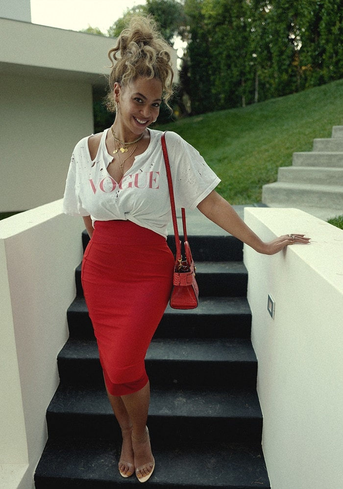 Beyonce rocking Givenchy's layered midi skirt with beige sandals with PVC detailing