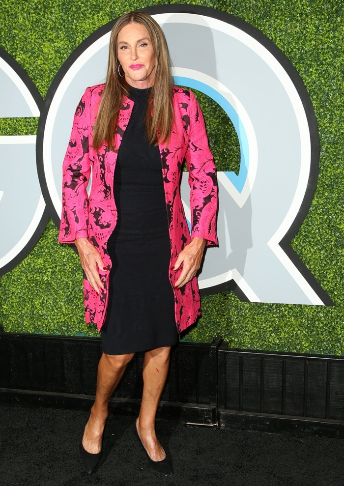 Caitlyn Jenner completed her outfit with bold lipstick, black suede pointy-toe pumps, and straight tresses