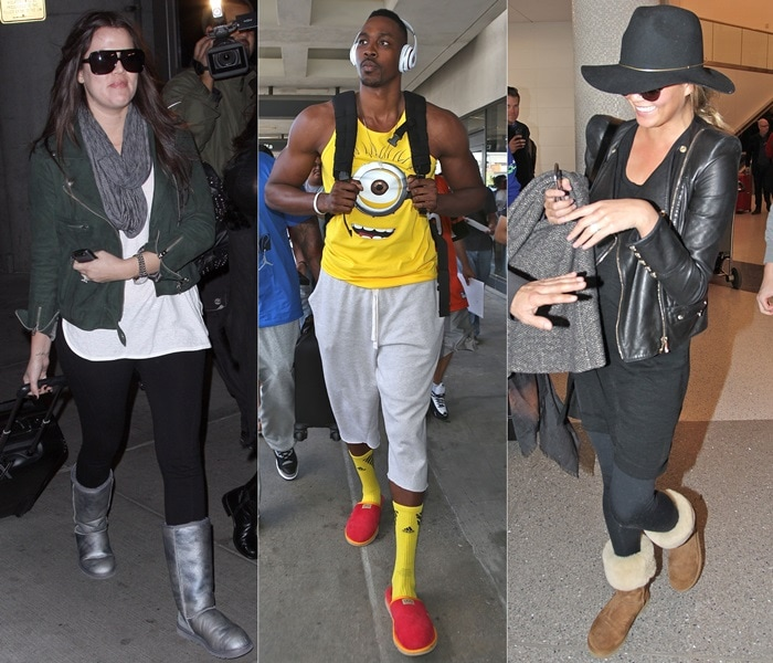 Celebrities wearing UGGs at the airport: Khloe Kardashian arrives at JFK airport on December 9, 2009 / Dwight Howard, wearing a Ugg red slippers and a minion top, at Los Angeles International Airport (LAX) on September 8, 2014 / Chrissy Teigen arrives at LAX airport in Los Angeles on January 23, 2015