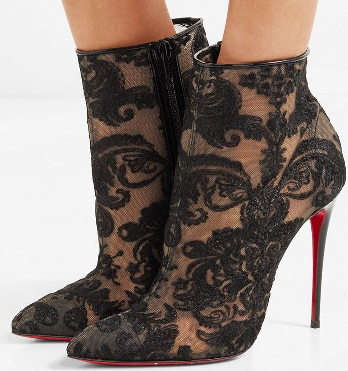 Christian Louboutin Gipsy 100 guipure lace ankle boots