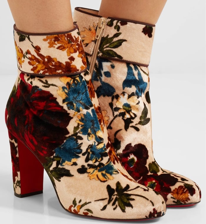 Christian Louboutin Moulamax 85 floral-print velvet ankle boots