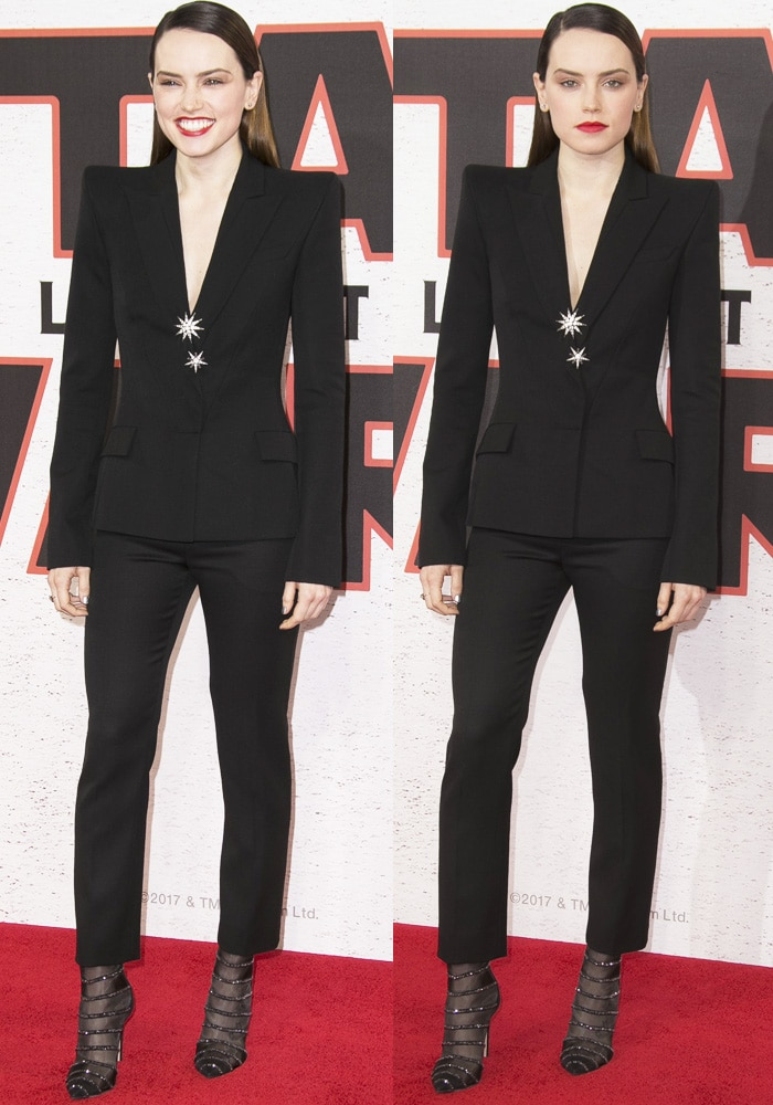 Daisy shows off her long physique in a suit number from Mugler's Spring 2018 collection