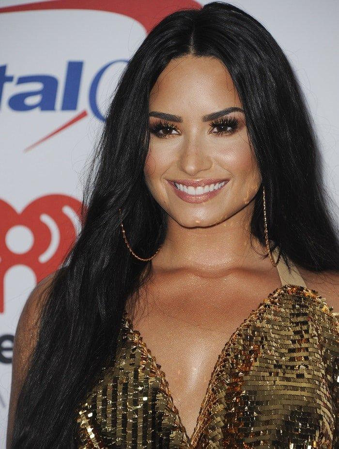 Demi Lovato's big gold hoop earrings