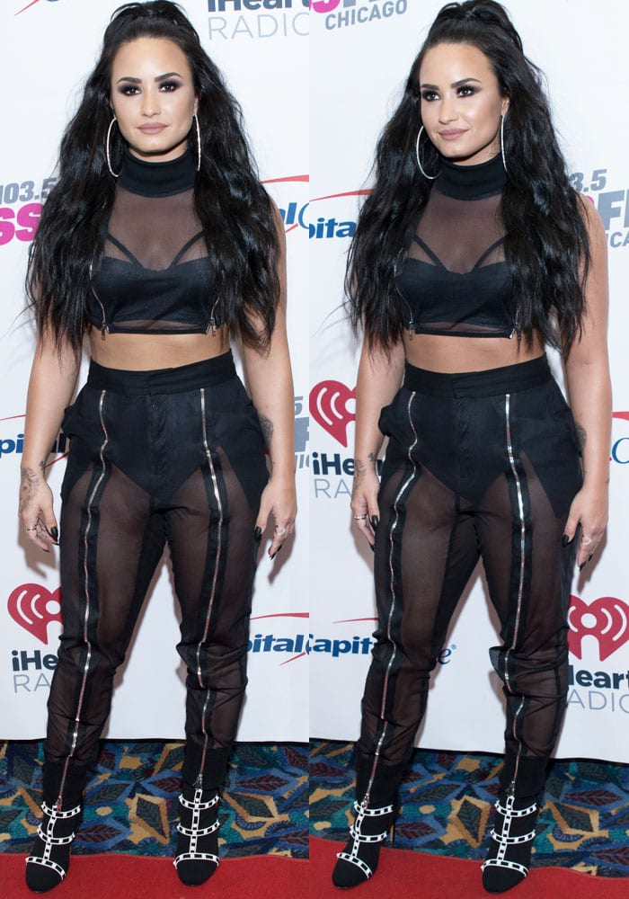 Demi is stage ready in a custom made Marna Ro top and the brand's Jada pants