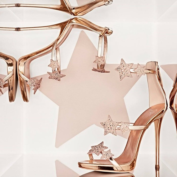 Giuseppe Zanotti 'Harmony Star' rose gold sandal with three straps and stars