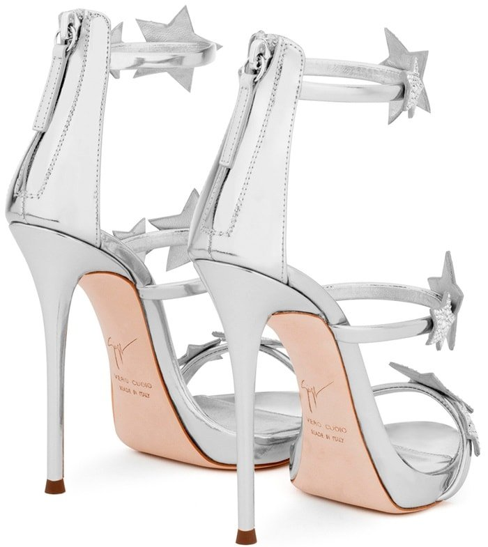 Giuseppe Zanotti 'Harmony Star' mirrored silver sandal with three straps and stars