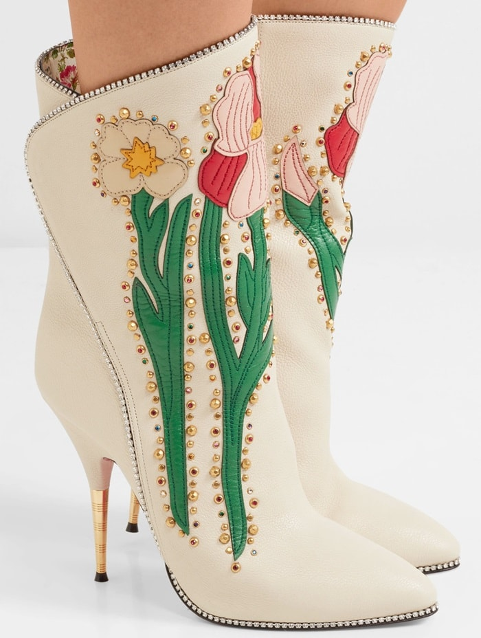 Gucci 'Fosca' appliquéd embellished textured-leather ankle boots
