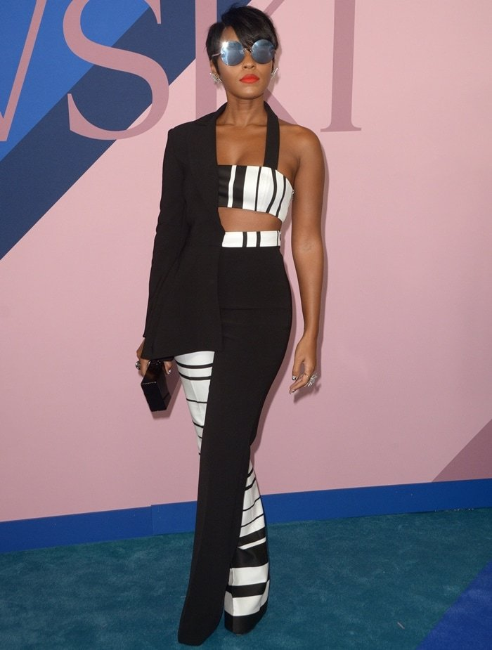 Janelle Monáe Robinson rocked a monochromatic and asymmetrical ensemble from the Christian Siriano Resort 2018 Collection