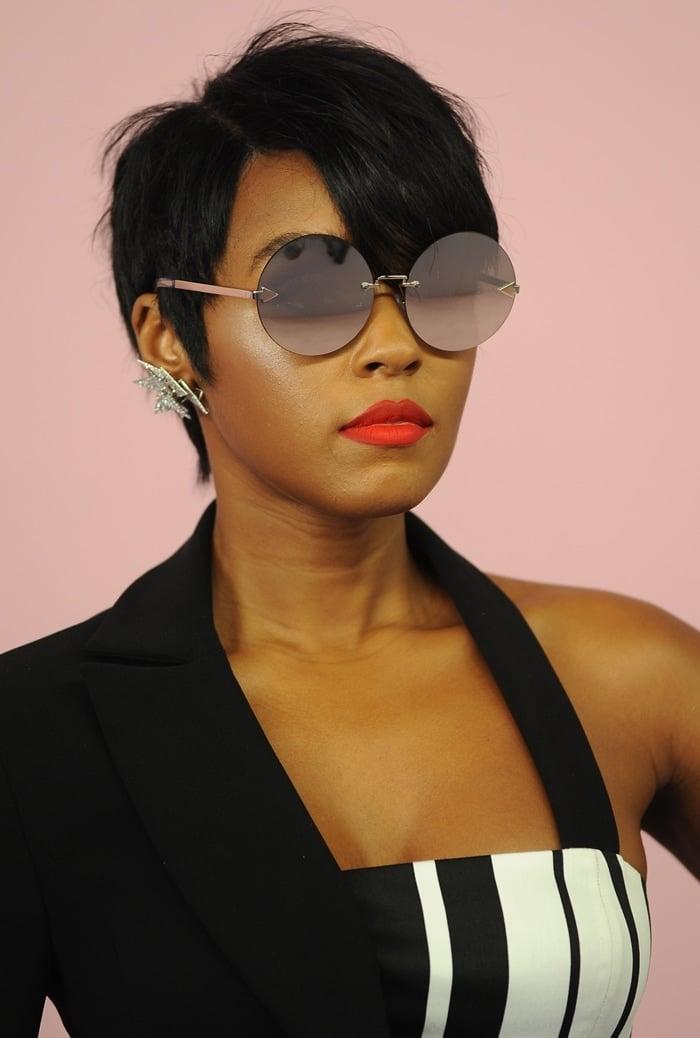 Janelle Monáe Robinson wearing Karen Walker Eyewear sunglasses