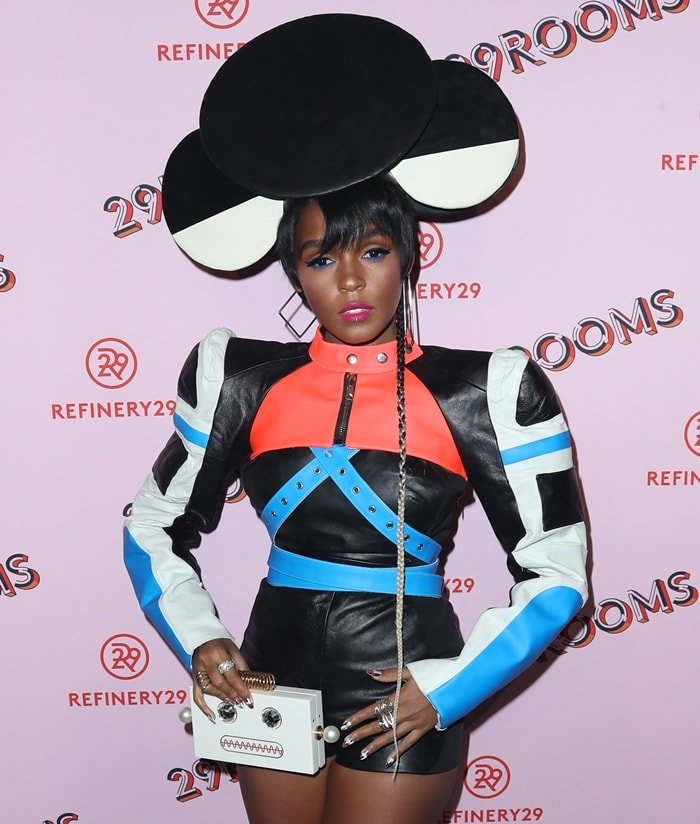 Janelle Monáe rocking Minnie Mouse hat from Dead Lotus Couture