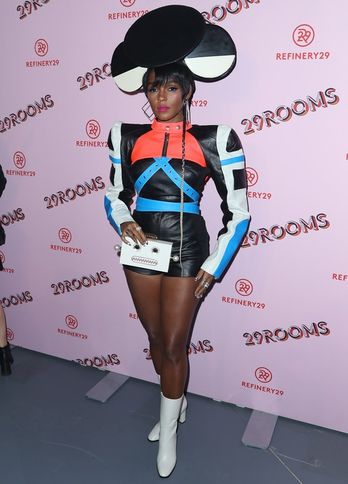 Janelle Monae showing off her fierce style at Refinery29′s '29Rooms Los Angeles: Turn It Into Art' party held at ROW DTLA in Los Angeles on December 6, 2017