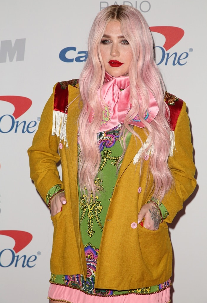 Kesha wearing head-to-toe Gucci in the press room at 102.7 KIIS FM's 2017 Jingle Ball presented by Capital One at The Forum in Inglewood, California, on December 1, 2017