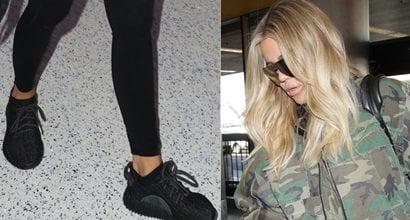 1d570f4aa7e2f Pregnant Khloe Kardashian Reveals Growing Baby Bump in Yeezy Sneakers