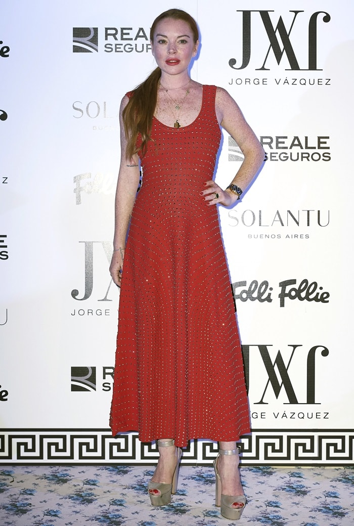 Lindsay Lohan checked out the presentation of the Jorge Vazquez Spring/Summer 2018 collection at Santo Mauro Hotel in Madrid on September 18, 2017