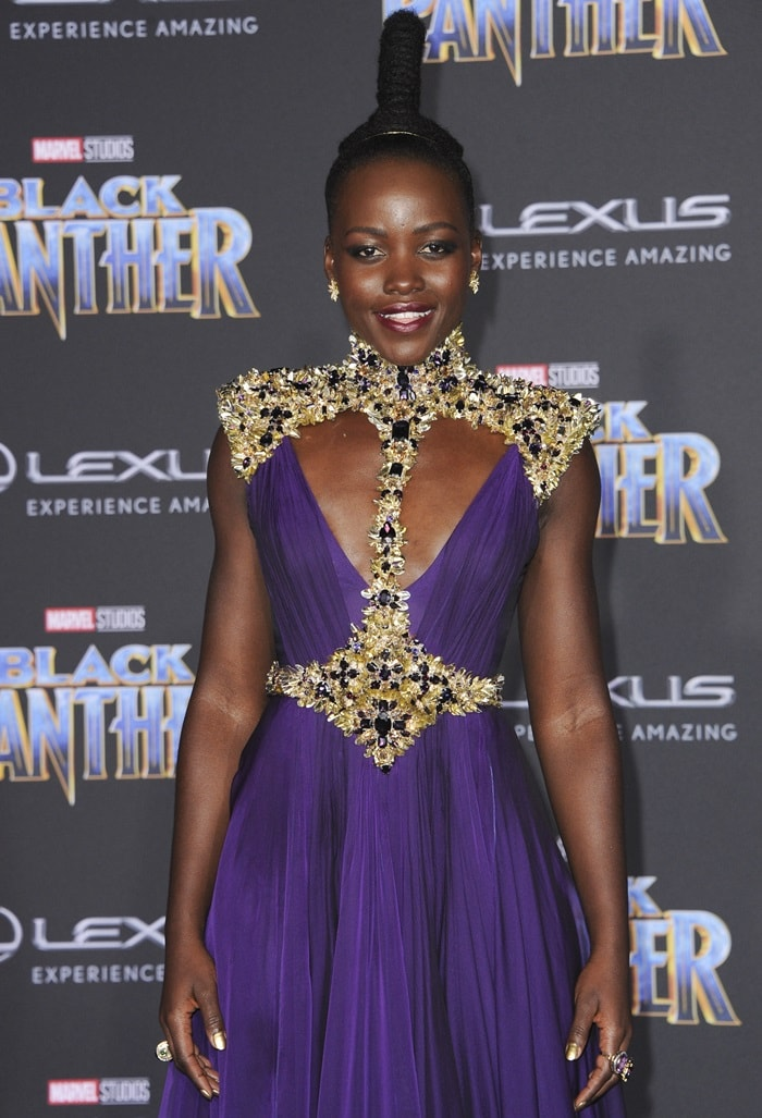 Lupita Nyong'o's Atelier Versace purple embellished gown