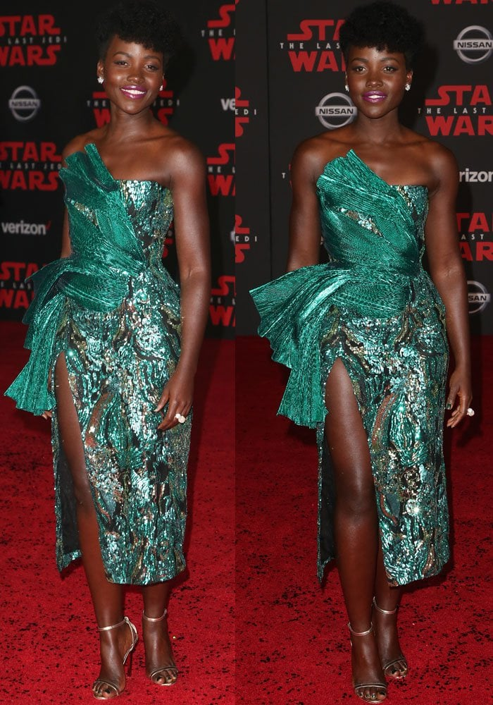 Lupita wore a green holiday dress by Halpern Studio