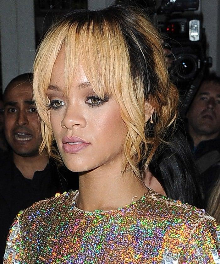 Rihanna wearing a a Stella McCartney iridescent sequin-covered crop top