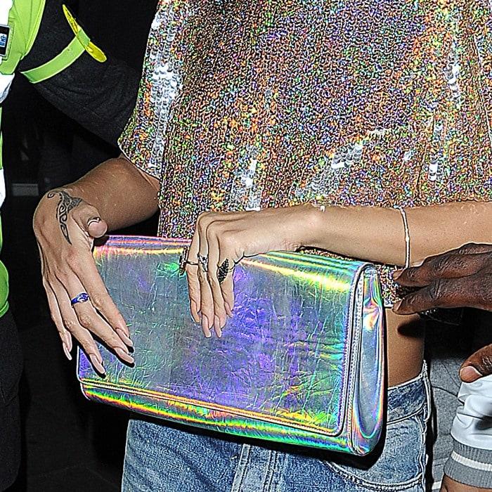 A closer look at Ri-Ri's iridescent clutch from Stella McCartney