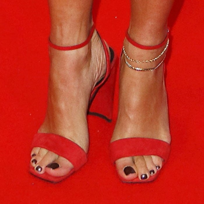 "Rita ushered in Christmas in custom made ""Charline"" sandals by Giuseppe Zanotti"