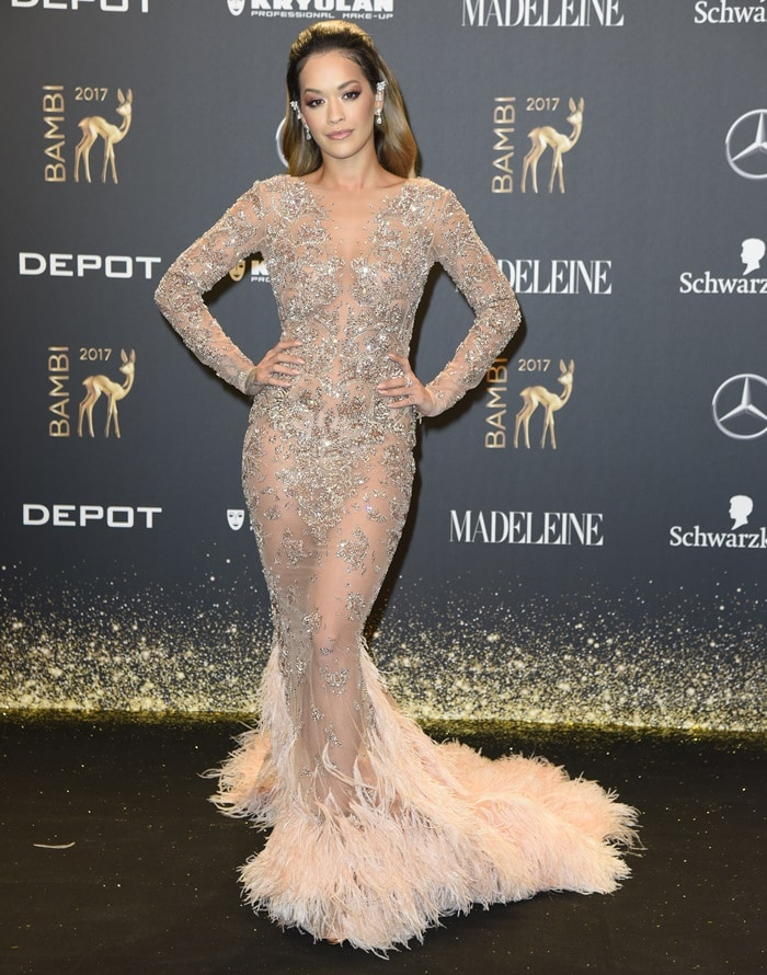 Ria Ora wearing a Zuhair Murad Fall 2017 Couture gown at the 2017 Bambi Awards held at the Stage Theater in Berlin, Germany, on November 16, 2017
