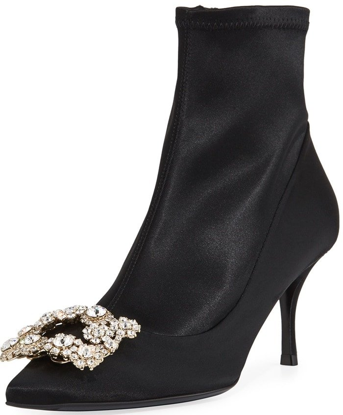 Roger Vivier Stretch-Satin Crystal Buckle Boot