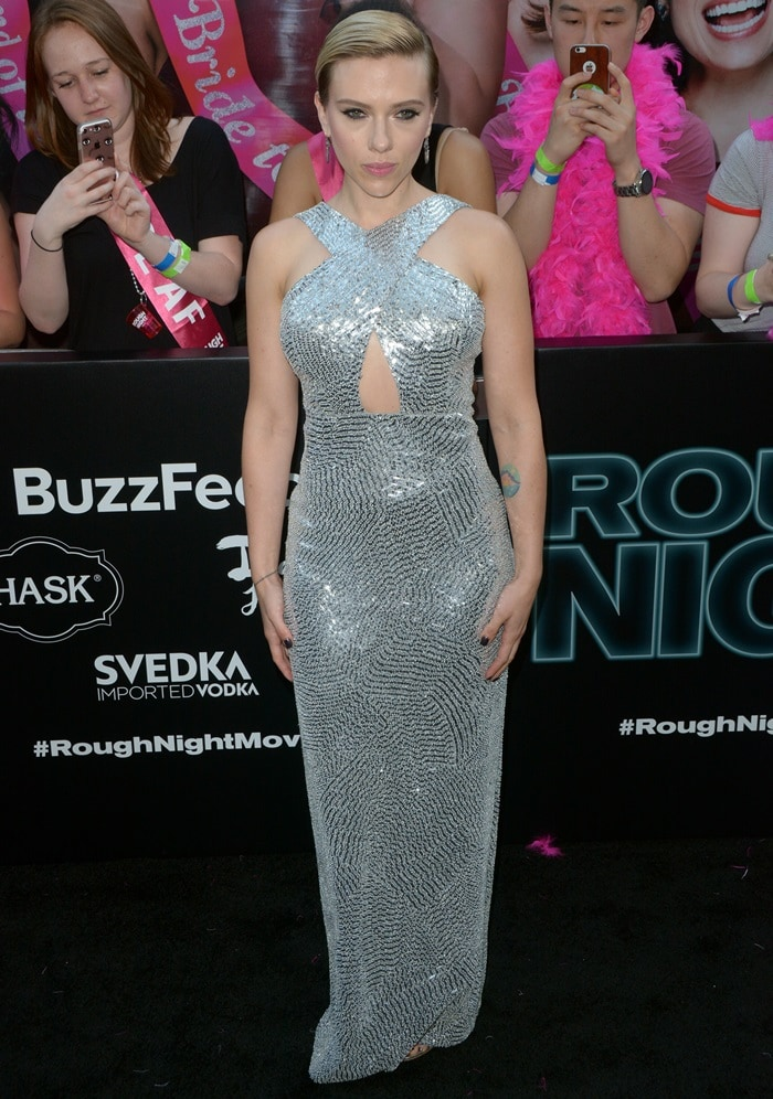 Scarlett Johansson wearing a custom Michael Kors Collection creation at the New York premiere of Sony's 'Rough Night' on June 12, 2017