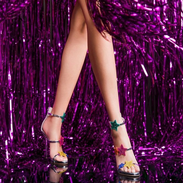 Silver Patent Leather Sandals With Multicolored Stars