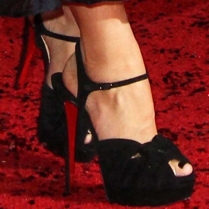 """Sofia towered in Christian Louboutin's """"Ionescadiva"""" platform sandals"""