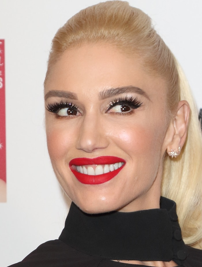 Gwen Stefani showed off her festive flair while hosting the celebrations at Westfield London's Christmas lighting in London, England, on November 30, 2017