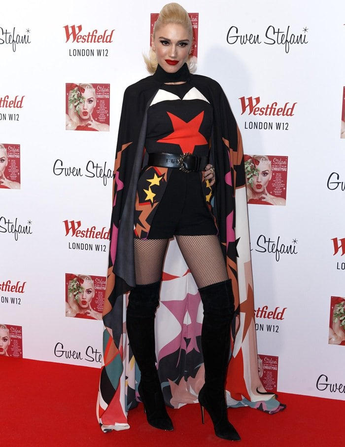 Gwen Stefani paired her eye-catching outwith with over-the-knee suede boots from Casadei