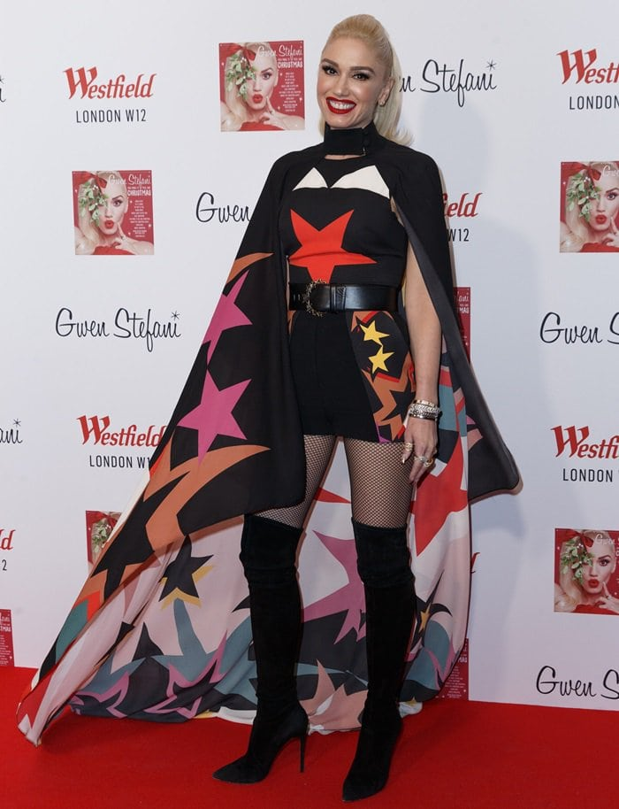 Gwen Stefani looked vibrant in a star-printed romper with belt and matching cape from the Elie Saab Spring 2017 collection
