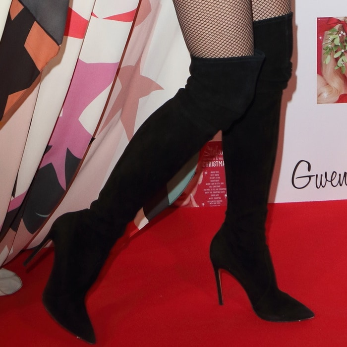 Gwen Stefani rocking a pair of Casadei over-the-knee suede boots