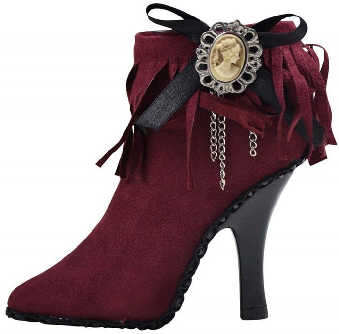 Tassle Bootie High Heel Shoe Jewelry Ring Holder