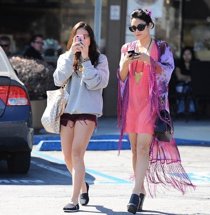 Vanessa Hudgens leaving a nail salon in Studio City with her sister Stella Hudgens
