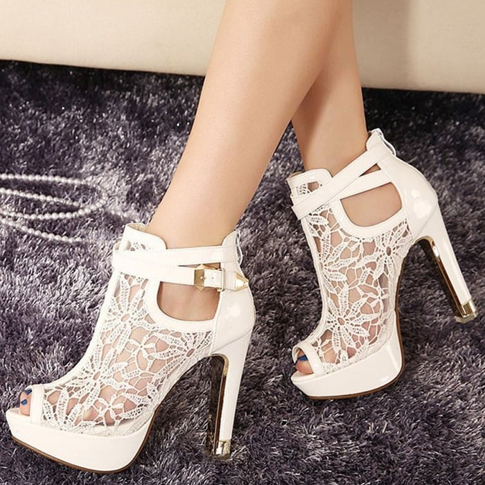 Floral Lace Ankle Booties