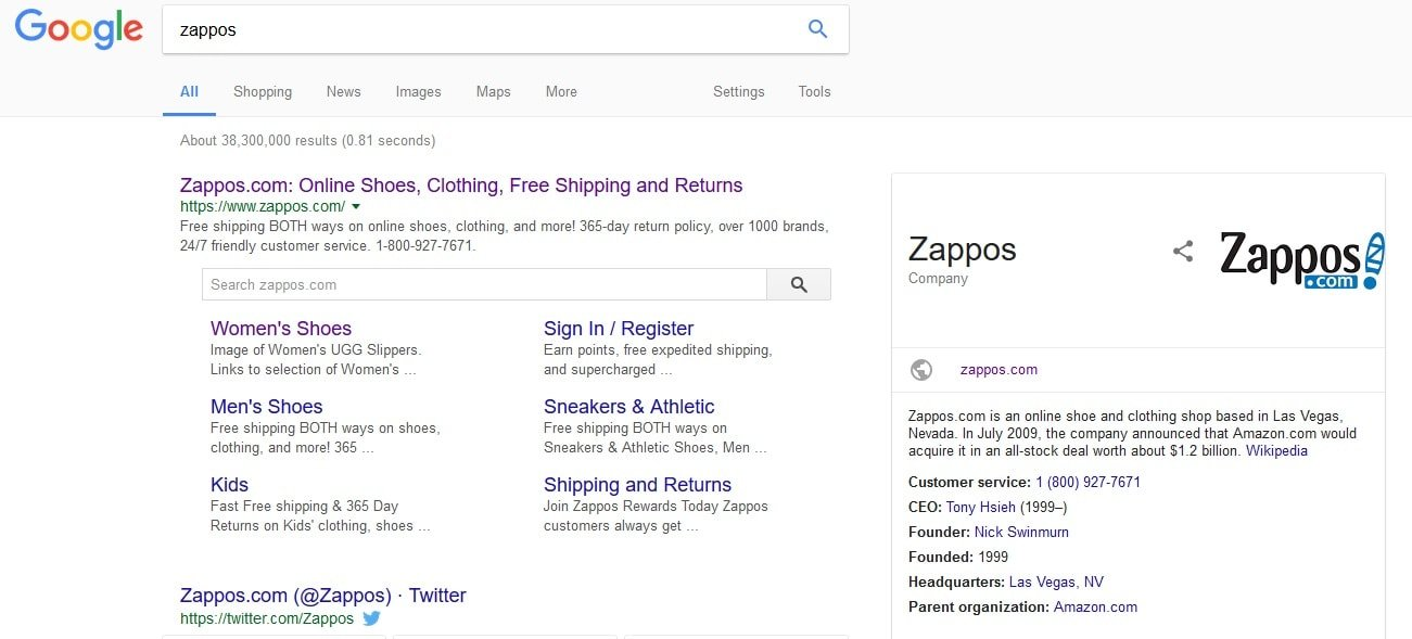 A reputable shoe retailer like Zappos has been mentioned millions of times on the Internet