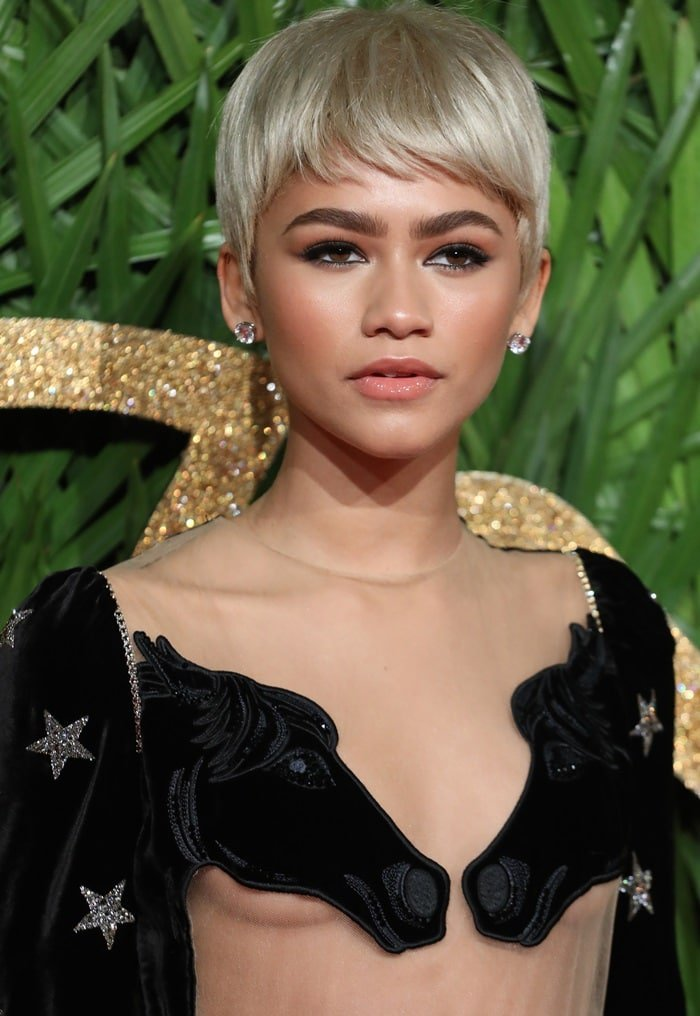 Zendaya covers her breasts with two horse heads in a bizarre sheer Vivetta Fall 2017 gown at the 2017 Fashion Awards held at Royal Albert Hall in London, England, on December 4, 2017