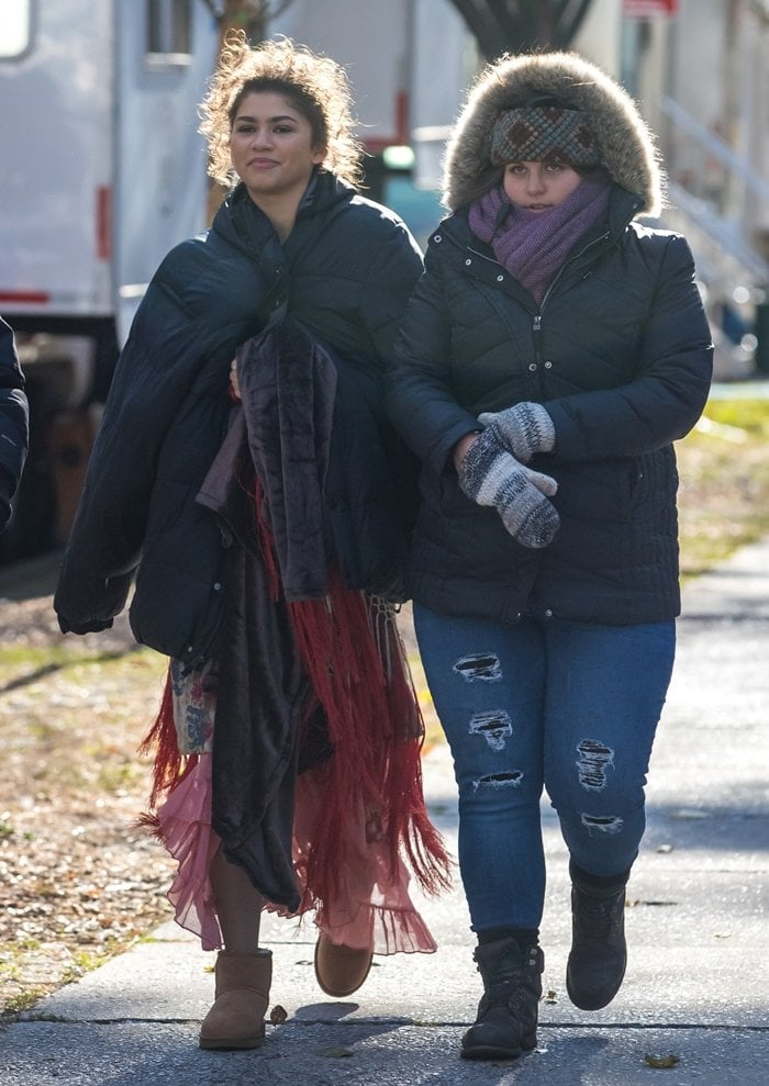 Zendaya heading to the movie set 'The Greatest Showman' on an exceptionally cold day in New York