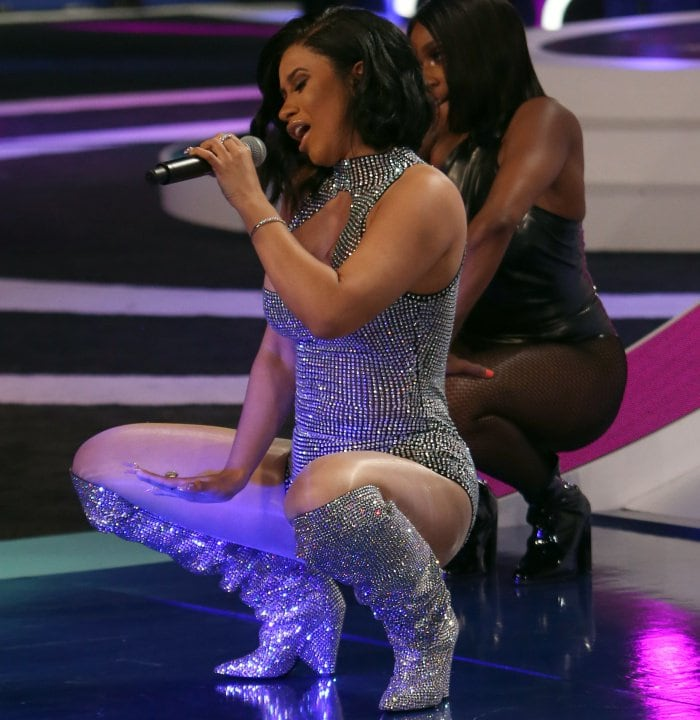 "Cardi B wearing a custom outfit from Angel Brinks with Saint Laurent ""Niki"" crystal-embellished over-the-knee boots at the 2017 MTV Video Music Awards"