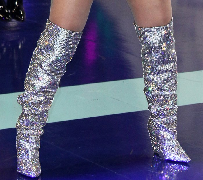 "Cardi B wearing Saint Laurent ""Niki"" crystal-embellished over-the-knee boots"