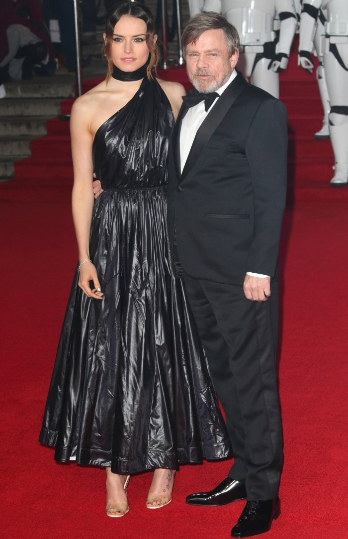 """Daisy Ridley with co-star Mark Hamill at the """"Star Wars: The Last Jedi"""" UK premiere"""