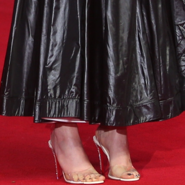 """Daisy Ridley wearing custom Christian Louboutin """"Rey"""" sandals at the """"Star Wars: The Last Jedi"""" UK premiere"""