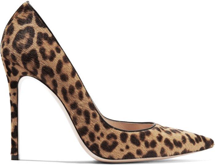Gianvito Rossi 105 suede pumps in leopard print calf hair