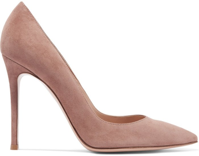 Gianvito Rossi 105 suede pumps in taupe suede